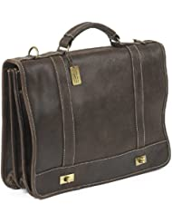 Claire Chase Leather Messenger Briefcase, Distressed Brown, One Size