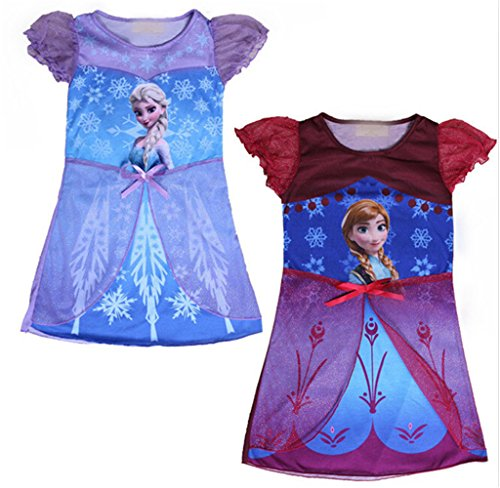 Famacy Snow Queen Toddler Girls Dress Anna Elsa Pyjamas Sleepwear Dress