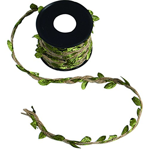 (TSJ Garden Hemp Rope Braid Vintage Decor Artistic Twisted Vine with Green Fabric Leaves for Macrame, Wall Decor Hanging, Wedding Bouquet Wrapping)