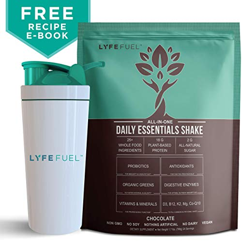 LYFE FUEL Meal Replacement Shake + Shaker Bottle | Keto, Vegan, Soy & Dairy Free | 18g of Plant Based Protein, Whole Superfoods, Organic Greens + Daily Essential Vitamins | Chocolate | 24 Meals