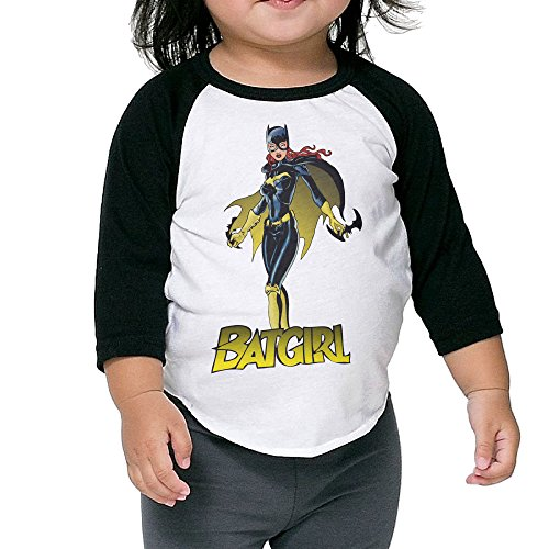 Autumn Kids Toddler Batgirl With Shuriken Crew Neck 3/4 Sleeves Raglan T Shirts Black US Size 3 Toddler (Mafia Toddler T-shirt)