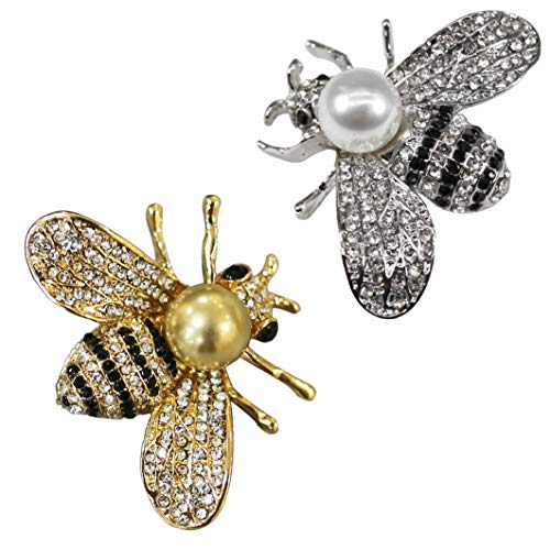 ZUOZUOYA Lovely Honey Bee Brooches - 2 Pcs Insect Themes with Gold and Silver Tone Brooch Pins - Fashion Mother of Pearl Brooch Pins - Great for Wife,Sisters and Friends
