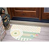 """3D Semicircle Floor Stickers Personalized Floor Wall Sticker Decals,Border with Button Floral Patch Traditional Lace,Kitchen Bathroom Tile Sticker Living Room Bedroom Kids Room Decor Art Mural D39.4"""""""