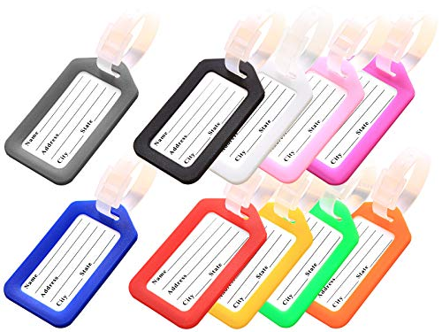 Key Tags, Identifiers Labels For Luggage Suitcases Bags, PVC Travel Baggage Tag Set 10 Pack Color Multicolored