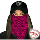 SA Company Face Shield Micro Fiber Protect from Wind, Dirt and Bugs. Worn as a Balaclava, Neck Gaiter & Head Band for Hunting, Fishing, Boating, Cycling, Paintball and Salt Lovers. - Aztec Pink