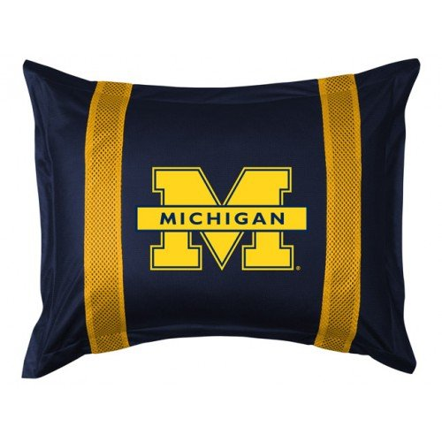 Michigan SIDELINES Jersey Material Pillow Sham