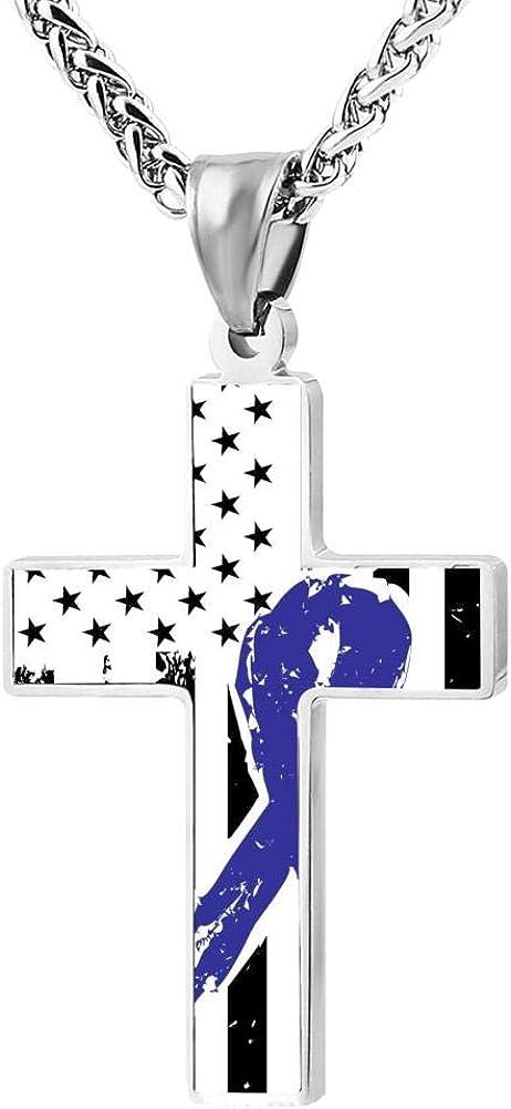 Amazon Com Blingdi Cool Design Colon Cancer Awareness American Flag Zinc Alloy Religious Cross Pendant Necklace Jewelry