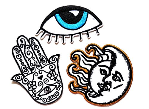 Nipitshop Patches Set of 3 Blue Eye Devil Eye eyeball Patch Black Fantasy Hamsa Hand Patch Sun Moon Patch Iron On Appliques Embroidered Patch for Clothes Costume or (Fantasy Costumes Australia)