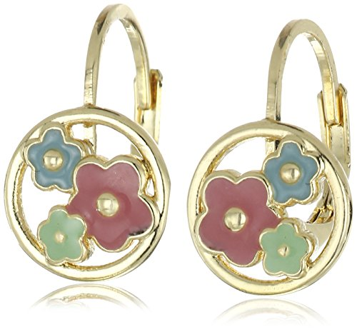 Little Miss Twin Stars Girls Frosted Flowers 14k Gold-Plated Leverback Accented with Cut Out Enamel Disc Drop Earrings