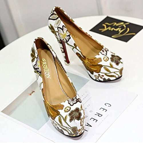 Transer® Damen Kitten-Heel Einzelschuhe Frühling/Herbst Mokassins Casual Leder+Gummi Plattform Drucken Rose Pumpen-Schuhe (Bitte eine Nummer größer bestellen) A