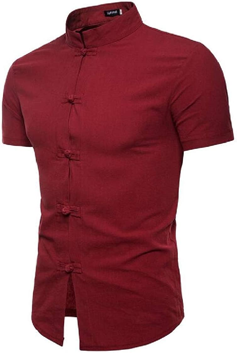 pipigo Mens Frog Button Stand Collar Short Sleeve Slim Solid Linen Shirts