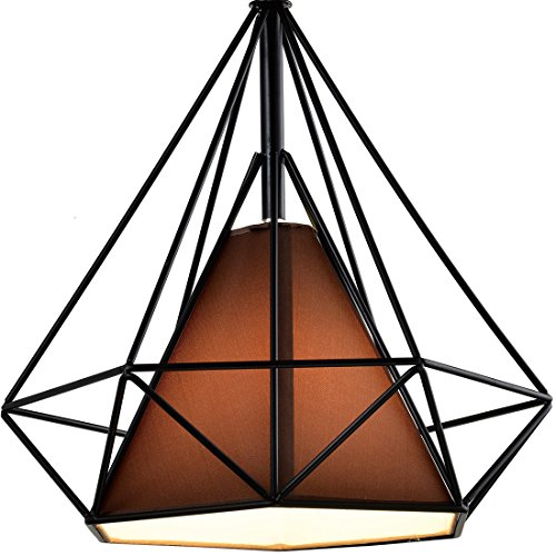 Diamond Shade Wrought Iron Chandelier - Battaa (2018 New Design) Industrial Pendant Lighting Vintage Hanging Modern Ceiling Loft Fixture Lamp for Indoor Kitchen Dining Room Bar Cafe 2-Year Warranty (Iron Chandelier Shade)