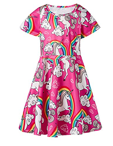 (Gilr's Short Sleeve Swing Skirt Dress Rainbow Unicorn Printed Casual Dress for Kids 8-9 Years)