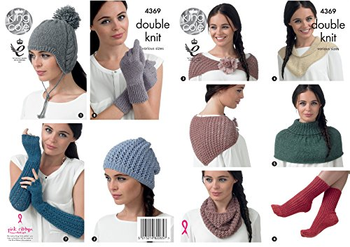 (King Cole Baby Alpaca DK Knitting Pattern Womens Winter Accessories - Hats Scarf Shawl Gloves (4369))
