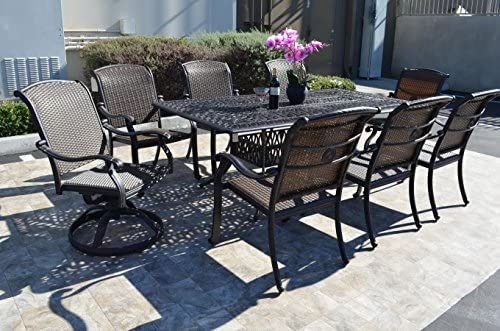 Santa Clara Outdoor Patio 9 pcs Dining Set 44 x 84 Dark Bronze Cast Aluminum