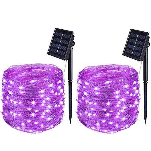 BOLWEO 2 Pack Purple Solar Lights Outdoor Decorative, 39.4Ft Solar String Lights, 120LED Solar Fairy Lights, Waterproof Starbright Rope Solar Powered Outside Halloween Christmas Home Garden Party