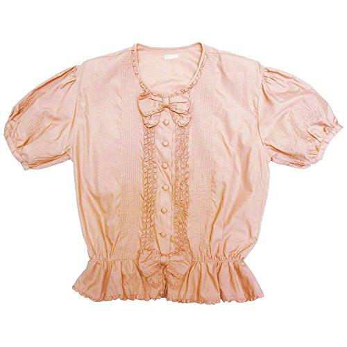 検索無条件断片KETTY ケティ半袖シャツ ピンク リボン 綿100% 裾フリル サンプル使用アウトレット品