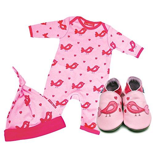 Inch Blue niñas niños piel zapato de bebé, body para bebé de algodón y algodón sombrero Set de regalo–