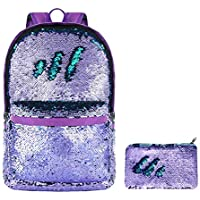 HeySun Reversible Sequins Sparkly Magic Flip Sequence Backpack with Sequin Pouch