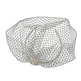 Henriette Women's Ivory Simulated Pearl & Rhinestone Bird Cage Veil Wedding Bridal Tiara Headband
