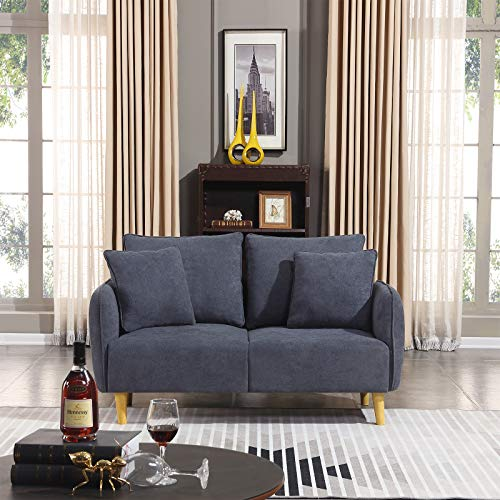 Honbay Modern Convertible Love seat Chenille Fabric Small Sofa Couch for Small Apartment loveseat Sofa Dark Grey