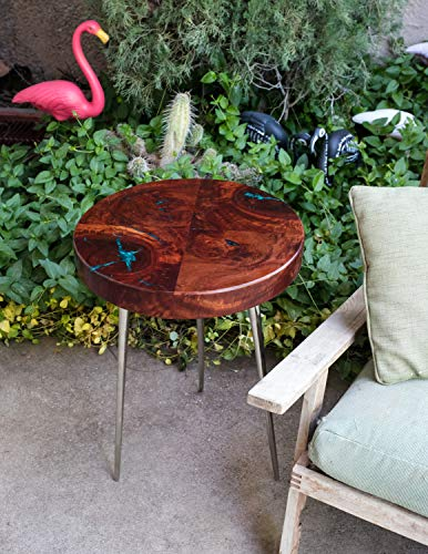 Red Gum Burl End Table on Tapered Chrome Legs