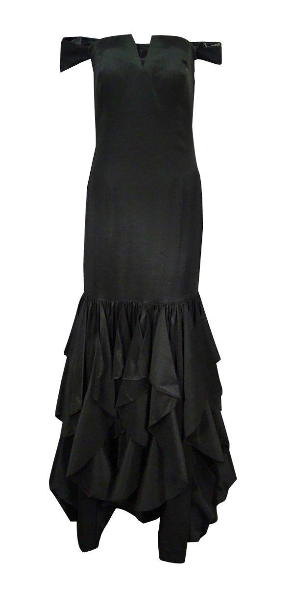 Adrianna Papell Women's Off Shoulder Mermaid Ruffle Gown Black Dress 8