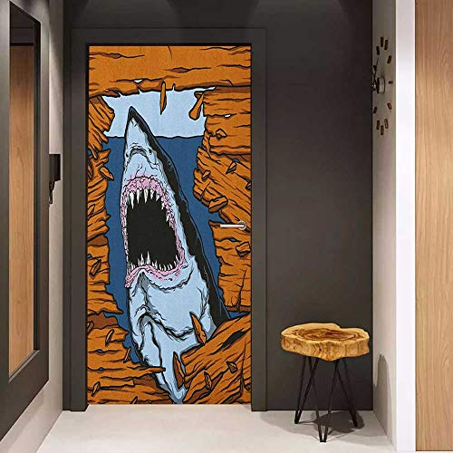 Onefzc Automatic Door Sticker Shark Wild Fish Breaking Wooden Plank Danger Sign Killer Creature Fun Illustration Easy-to-Clean, Durable W31 x H79 Ginger Dark Blue ()