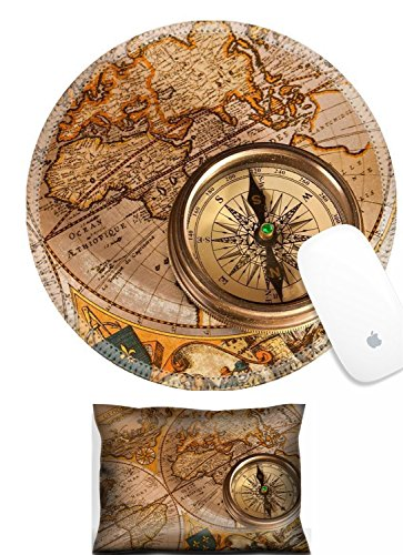 (Luxlady Mouse Wrist Rest and Round Mousepad Set, 2pc Vintage Old Map and Compass Concepts IMAGE:)