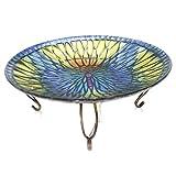 Home & Garden BUTTERRFLY BIRDBATH W/STAND Glass Stain Glass Look 2Gb644s
