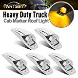 Partsam M27011Y 7LED Cab Marker Light 5PCS Clear Lens Amber Truck Top Roof Running Light Chrome Base Compatible with Peterbilt/Kenworth/Freightliner/Volvo/Western Star/Mack Trailer