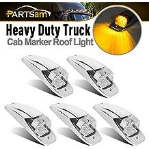 Partsam 5x Amber/Yellow 7LED Chrome Upper Cab Marker Lights Clear Lens M27011Y for Truck Trailer Peterbilt Kenworth Freightliner Mack Western Star
