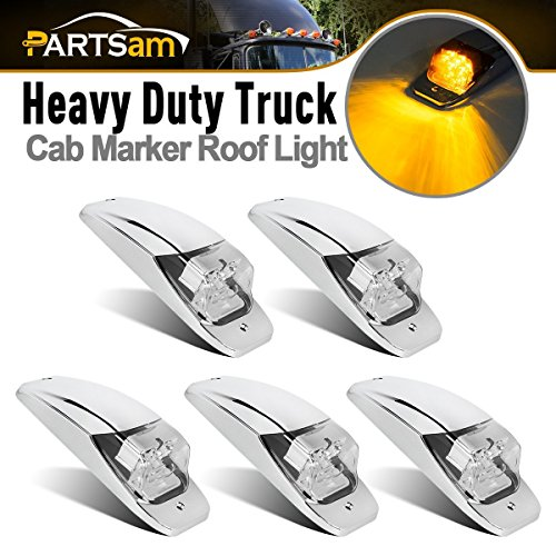 Partsam M27011Y 7LED Cab Marker Light 5PCS Clear Lens Amber Truck Top Roof Running Light Chrome Base Replacement for Peterbilt Kenworth Freightliner Mack Western Star Volvo ()