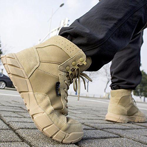 FREE SOLDIER Men's Tactical Boots 6'' inch Lightweight Military Boots for Hiking Work Boots Breathable Desert Boots (Tan, 7) by FREE SOLDIER (Image #9)