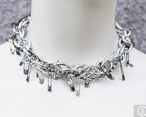 (Silver crystal gunmetal safety pin and chain statement choker necklace)