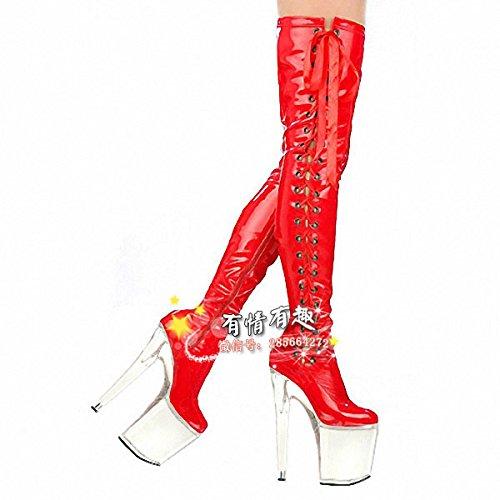 red lace des bottes mode de 20 cm de haut talons