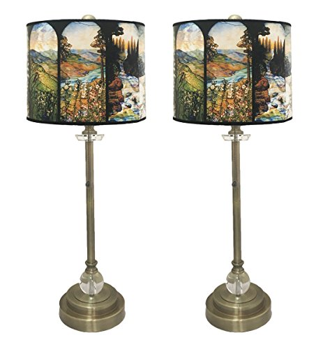 Royal Designs 28'' Crystal and Antique Brass Buffet Lamp with Four Seasons Stained Glass Design Hard Back Lamp Shade, Set of 2 by Royal Designs, Inc