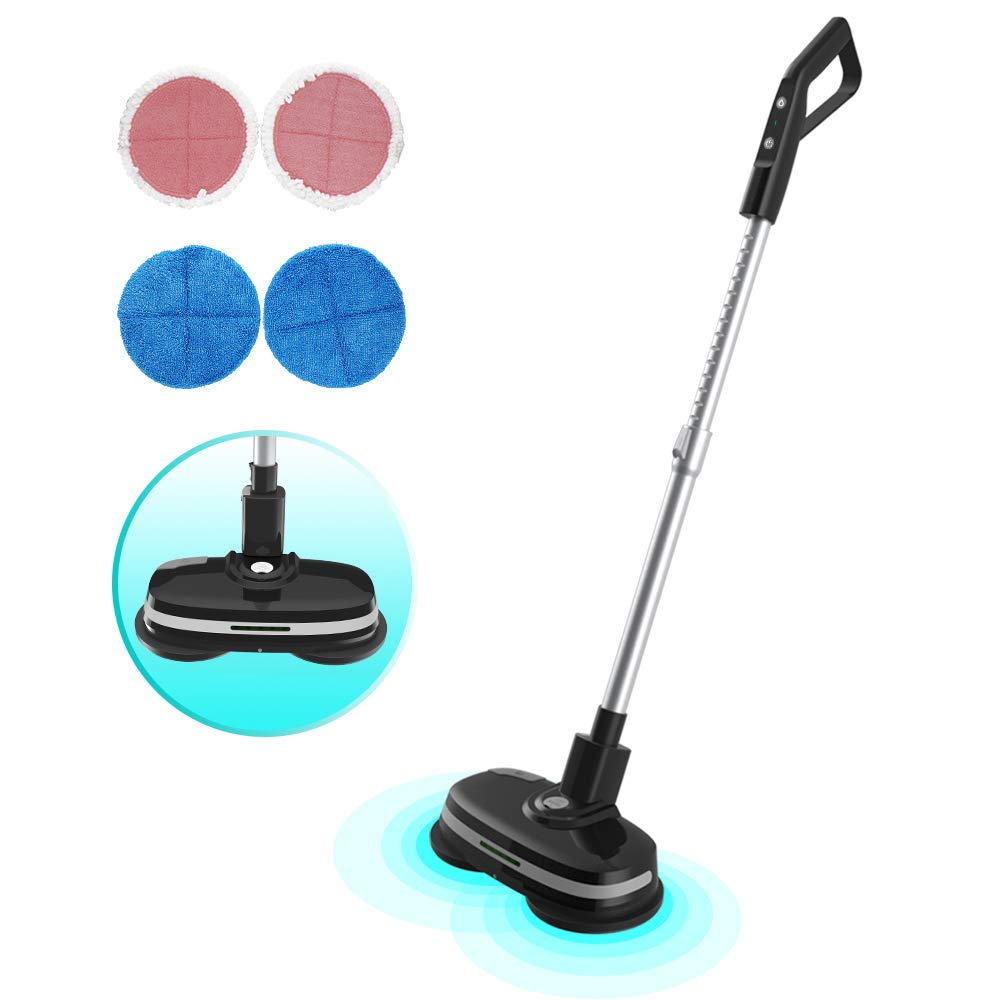 Mamibot Cordless Electric Dual Spin Mop and Polisher 3-in-1 Mopa580 Scrubber Waxer Quiet and Powerful Cleaner with Convenient Adjustable Handle and 5 Replaceable Mop Pads for All Flat Hard Floor Cleaning Marble Tile(Black)