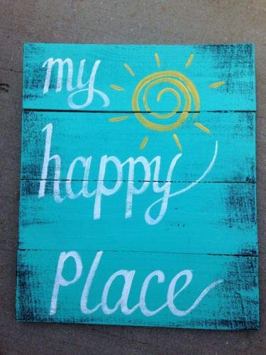 Hand Painted Sign Board - Diuangfoong My Happy Place Sign Hand Painted Pallet Wood Boards Inspirational Wall Decor Art