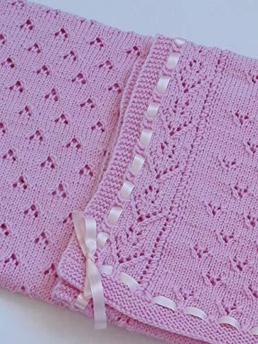 Funda de manta rosa para bebé - 100% lana merino - ideal para cuna y