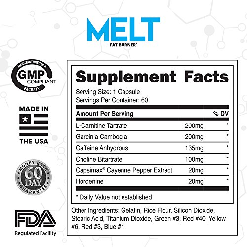 MELT Best Thermogenic Fat Burner For Men & Women Appetite Suppressant Pills for Fast Weight Loss Real Results Guaranteed 60 caps