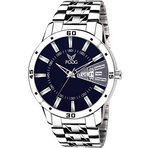 Fogg Stainless Steel Day and Date Blue Dial Analog Mens Watch (2038-BL)