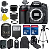 Nikon D7000 DSLR Camera Body + 18-300mm VR + 2 32GB Extremespeed Memory Cards + HD UV Filter + Wireless Remote + Professional Tripod + Flash + Accessory Bundle (13 Items) - International Version