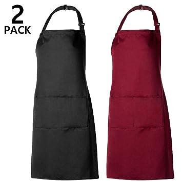 Pamiyo Tabliers De Cuisine 2 Pack Tablier Avec Poche Etanche Reglable Anti Taches Pour Cuisine Familial Restaurant Barbecue Noir Rouge