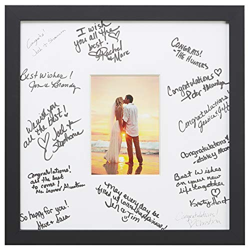 Craig Frames 14 x 14 Wedding Signature Picture Frame Matted to Display a 5 x 7 Inch Photo, Satin Black ()