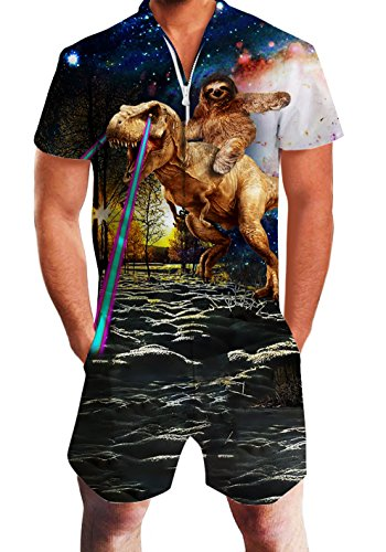 Mens Short Sleeve Overalls Galaxy Nebula Sky Pattern Retro Romper 3D Animal Printed Sloth Riding Dinosaur with Lighting 80s Hipster One Piece Grandad Outfits Durable Zip with Pocket