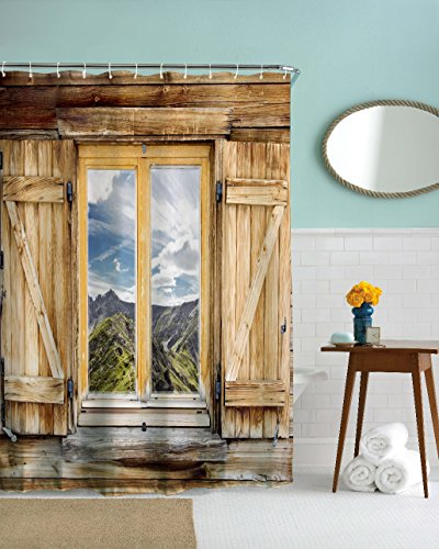 Goodbath Farmhouse Shower Curtain, Old Wooden Barn Door Window Pattern with Mountain Hill Sky Nature View, Waterproof Fabric 3D Bath Shower Curtains, 72 x 72 Inch, Old Wood by Goodbath (Image #1)