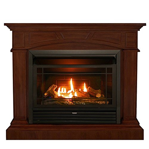 Duluth Forge Dual Fuel Ventless Gas Fireplace - 26,000 BTU, Remote Control, Heritage Cherry Finish