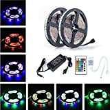 Supepower® 2x5Meter (10M in Total) SMD 3528 600 LEDs RGB Color Changing Flexible LED Strip Light Kit (24 Key Remote + 12V 6A Power Supply+Product Manual) For Christmas Eve,New Year's Day