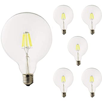 1 Pack 8 W G125 E27 filamento LED blanca fría 6000 quilates Edison Tornillo 125 mm